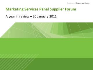 Marketing Services Panel Supplier Forum