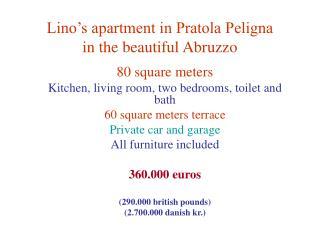 Lino's apartment in Pratola Peligna in the beautiful Abruzzo