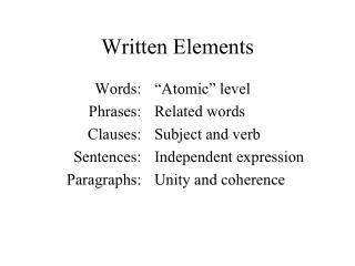 Written Elements