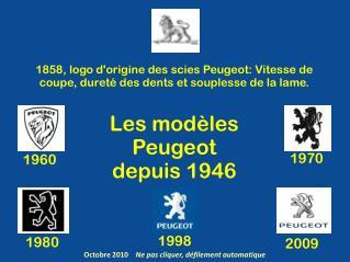 Les modèles  Peugeot  depuis 1946