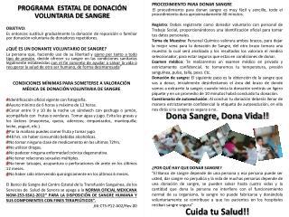PROGRAMA   ESTATAL DE DONACIÓN VOLUNTARIA DE SANGRE