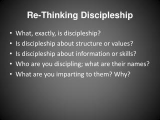 Re-Thinking Discipleship