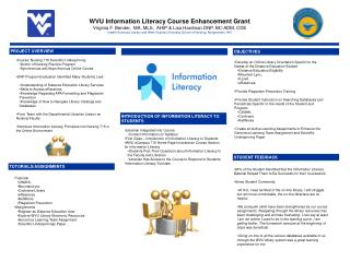 WVU Information Literacy Course Enhancement Grant
