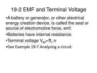 19-2 EMF and Terminal Voltage