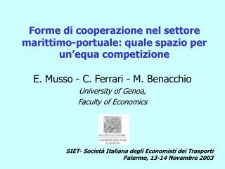 Forme di cooperazione nel settore marittimo-portuale: quale spazio per un�equa competizione
