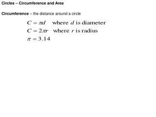 Circles – Circumference and Area