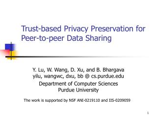 Trust-based Privacy Preservation for Peer-to-peer Data Sharing