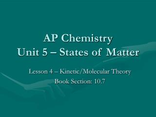 AP Chemistry Unit 5 – States of Matter