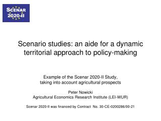 Scenario studies: an aide for a dynamic territorial approach to policy-making