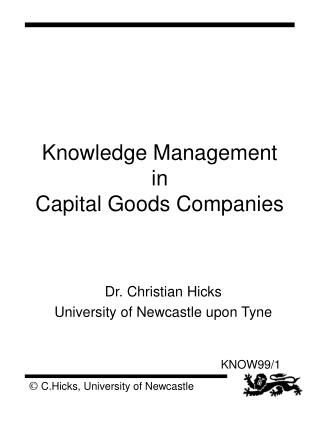 Knowledge Management in  Capital Goods Companies