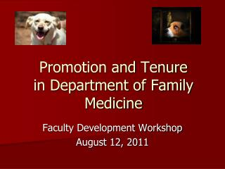 Promotion and Tenure in Department of Family Medicine
