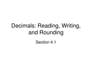 Decimals: Reading, Writing, and Rounding