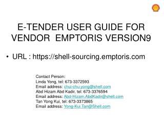E-TENDER  USER GUIDE FOR  VENDOR   EMPTORIS  VERSION9
