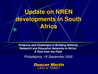 Update on NREN developments in South Africa