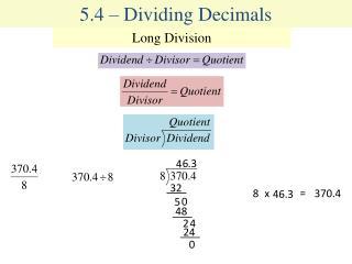 5.4 � Dividing Decimals