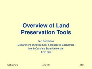 Overview of Land Preservation Tools