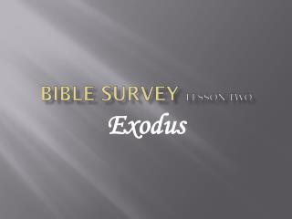 Bible survey Lesson Two