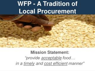 WFP - A Tradition of Local Procurement