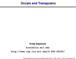 Occam and Transputers