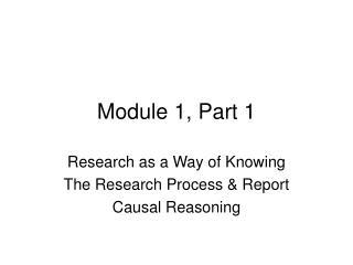Module 1, Part 1