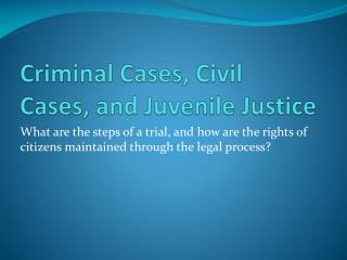Criminal Cases, Civil Cases, and Juvenile Justice