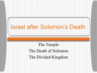 Israel after Solomon's Death