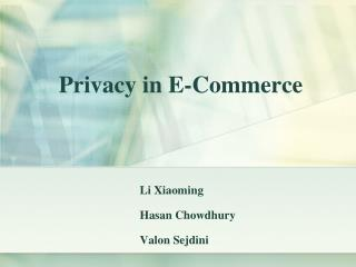 Privacy in E-Commerce