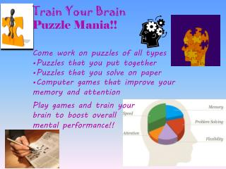 Train Your Brain Puzzle Mania!! Come  work on puzzles of all types  Puzzles that you put together