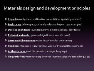 Materials design and development principles