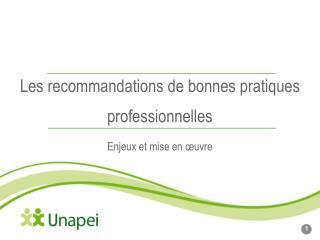 Les recommandations de bonnes pratiques professionnelles