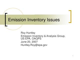 Emission Inventory Issues