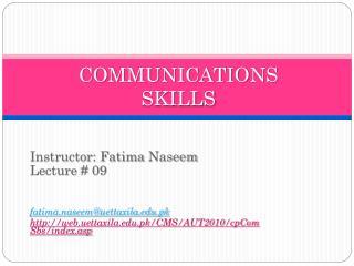 COMMUNICATIONS SKILLS