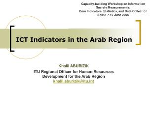ICT Indicators in the Arab Region
