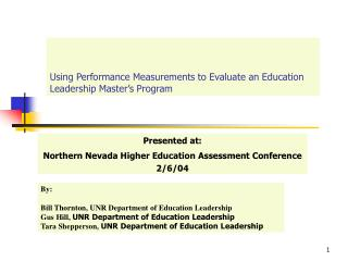 Using Performance Measurements to Evaluate an Education Leadership Master s Program