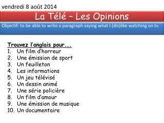 La Télé – Les Opinions
