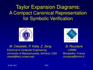 Taylor Expansion Diagrams: A Compact Canonical Representation for Symbolic Verification
