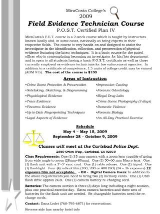 MiraCosta College's 2009 Field Evidence Technician Course P.O.S.T. Certified Plan IV