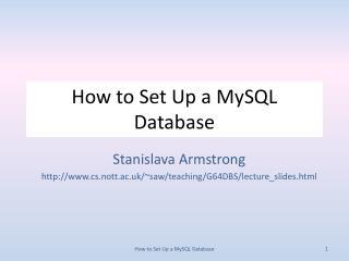 How to Set Up a  MySQL  Database