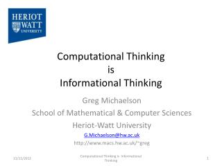 Computational Thinking  is  Informational Thinking