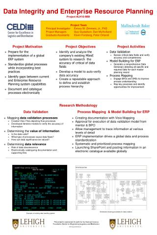 Data Integrity and Enterprise Resource Planning  Project #LH10-MBI