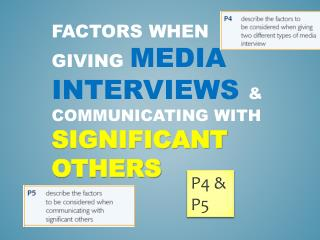 Factors when giving  media interviews  & communicating with  significant others