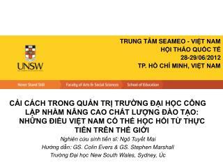 TRUNG TÂM SEAMEO - VIỆT NAM HỘI THẢO QUỐC TẾ 28-29/06/2012 TP. HỒ CHÍ MINH, VIỆT NAM