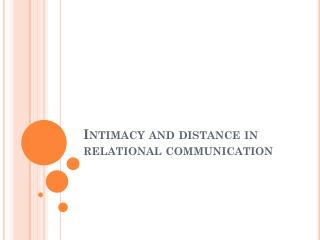 Intimacy and distance in relational communication