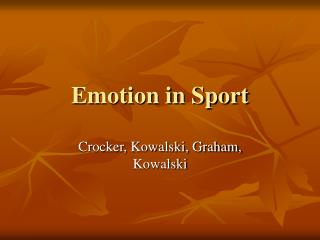 Emotion in Sport