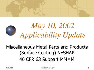 May 10, 2002 Applicability Update