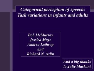Categorical perception of speech: Task variations in infants and adults