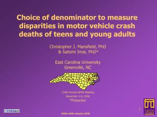 Choice of denominator to measure disparities in motor vehicle crash deaths of teens and young adults