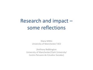 Research and impact –  some reflections