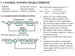 5. CONTROL SYSTEM CHARACTERISTIC