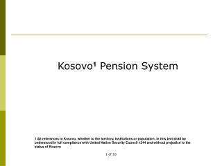 Kosovo 1  Pension System